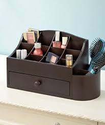 Get Quotations  Espresso Wooden Makeup Cosmetic Beauty Organizer with  Storage Drawer & 14 Compartments Bathroom Organizer By Nyconnection535