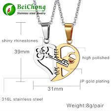 key lock necklace pendant 1314520 couple lover wedding jewelry stainless steel couple heart pendant necklace 2pcs sets