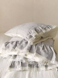 ruffled lace linen bedding set in