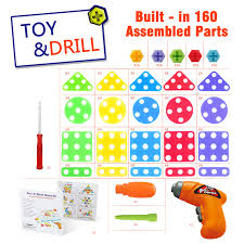 Drill N Design Mosaic Art Syosin Toy Electric Drill Play Creative Educational Construction Building Toys Tool Kit Workshop Separate Drill