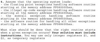 Solved: 4. Assume That The Operating System Loads: - The F ...