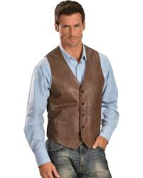 zoomed image scully lambskin leather western vest chocolate hi res