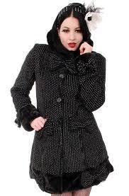 gothic coat mace with hood winter coat black white polka dots horror com