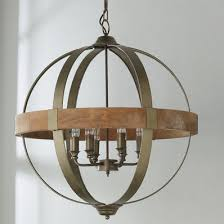 wood and metal chandelier. Metal And Wood Globe Chandelier - 6-Light I