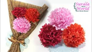 Paper Carnation Flower How To Make Paper Carnations Flower With Thin Paper Tissue Paper
