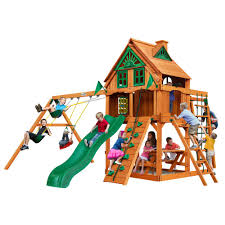 gorilla playsets navigator treehouse wooden playset with fort add on and monkey bars