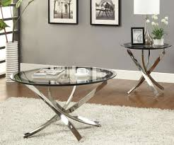 glossy silver metal leginimalist glass round coffee table and end table sets