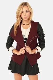 together for leather black and burdy jacket