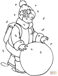 Small Picture Little Girl Rolling a Snowball coloring page Free Printable