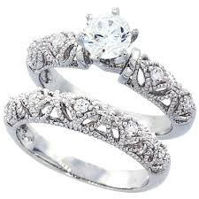 antique wedding bands for women. amazon.com: sterling silver wedding ring set, round cz engagement 2pcs vintage bridal sets ( size 5 to 10): jewelry antique bands for women