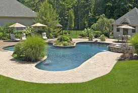 Backyard Pool Landscaping Swimming Pool Fascinating Backyard Pool Landscaping With Brick