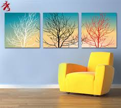 2016 new 3 piece abstract no frame printed canvas art black red white tree simple canvas