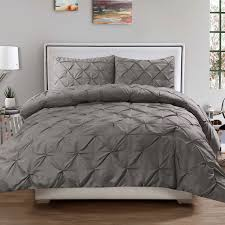 luxury 3 piece pinch pleat pintuck polyester duvet cover and pillow sham set queen grey com