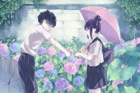 hd cute anime couple in rain hd photography