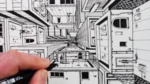 perspective drawings of buildings. Simple Buildings How To Draw 1Point Perspective 3D Buildings On Perspective Drawings Of M
