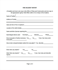 Blank Fire Incident Report Form Medical Office Example Dental