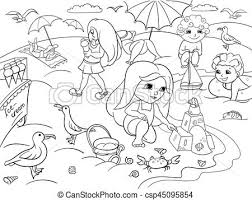 kids at the beach clipart black and white. Wonderful Beach Children Swimming At The Beach And Play With Toys  Csp45095854 Intended Kids At The Beach Clipart Black And White L