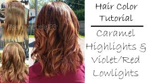 fall hair color tutorial caramel blonde highlights violet red lowlights you