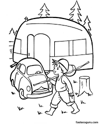 Small Picture Printable coloring pages caravan car Thema camping kleuters
