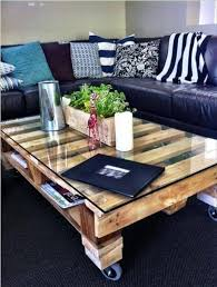 diy pallet coffee table with glass use