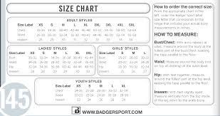 Badger Sportswear Size Chart Badger Sportswear Size Chart Best Picture Of Chart