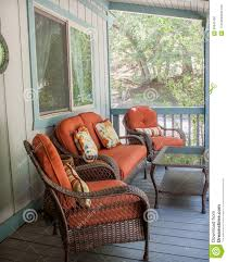 Burnt Orange Patio Furniture Outside The Deck Stock