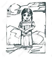 手描きベクトル イラストや自然の景観先住民族の女の子の図面