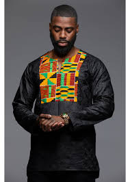 Kente Shirt Designs Dakari Mens African Print Long Sleeve Trad Shirt Yellow