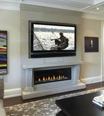 Linear Gas Fireplace Ideas With Mantel Tv Above