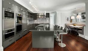 Modern Gray Kitchen Cabinets Side By Side Refrigerator White Solid ...