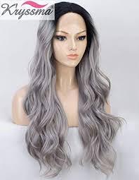 K'ryssma Ombre Grey Lace Front Wig with Black ... - Amazon.com