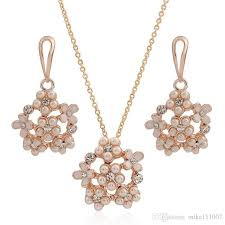 rose gold plated pearl jewelry set set necklace earring korean style flower shaple rhinestone pendant for women jewelry set rhinestone earring pearl