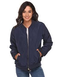 er jacket women lightweight long sleeve zip up casual quilted winter coats dark blue sf18832