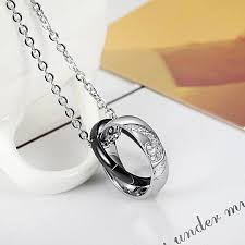 girl rose gold chain explosive accessories couple jewelry love diamond jigsaw jigsaw pendant titanium steel