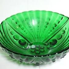 depression glass green large green glass bowl fruit bowl serving centerpiece candy d green depression glass pitcher patterns