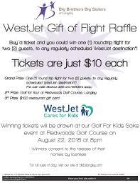 Cash Raffles Westjet Gift Of Flight Raffle 2018 Big Brothers Big Sisters Of Langley