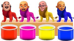 Bathing Colors Fun L Motu Patlu Upin Ipin Head Lion L Colors For