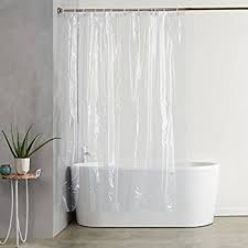 AmazonBasics Heavyweight Clear Shower Curtain Liner with Hooks (20-Gauge,  Waterproof and Treated
