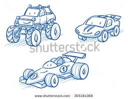 Cute Set Of Vehicles Racing Cars Monster Truck Hand Drawn