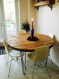 Hairpin dining table Dining Room Image Etsy Industrial Rustic Reclaimed Round Hairpin Dining Table Etsy