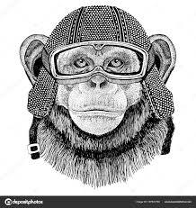 šimpanz Opice Nosí Vintage Motocykl Helma Tetování Odznak Emblém