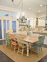 cottage kitchen furniture. In Love With DIY Farmhouse Table And Chalk Distressed Chairs. I How Every Chair Is Different. This Kitchen So Unique Cottage Furniture