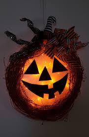 Happy Jack O Lantern Lighted Halloween Pumpkin Wreath In