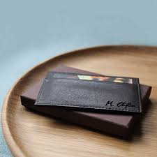 personalised leather card holder example of handwritten engraving