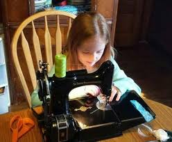Little Girl Sewing Machine