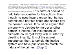 "analytical paragraph ""the tell tale heart"" the insanity plea is  the insanity plea is just an excuse for criminals"