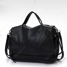 zip closure washable leather tote bag in black fah 74944