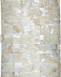 silver metallic patchwork cowhide rug