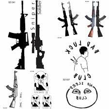 Yuran новый черный пистолет мужчины Fashoin татуировки наклейки женщины тело рука