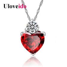 whole 15 off dhgate red white purple crystal heart pendant necklaces pendants for women charms jewelry colar suspension 55641 cute pendant necklaces